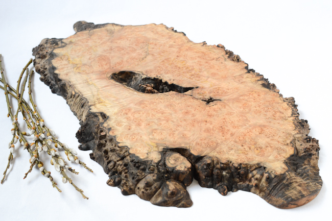 Red Onion Woodworks burl burst serving board