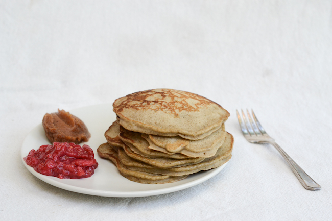 Not Without Salt's yeasted buckwheat pancakes with rhubarb-raspberry-ginger jam // Wayward Spark