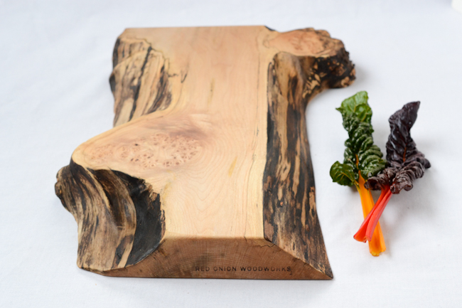 Red Onion Woodworks natural edge serving board