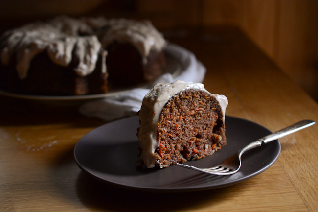 carrot cake with cream cheese-honey-blood orange frosting // Wayward Spark